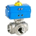 "3/8"" Genebre Art5040 3-Way L-Port Stainless Steel Actuated Ball Valve (Double Acting)"