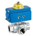 "1/2"" Genebre Art5070 3-Way L-Port Brass Actuated Ball Valve (Double Acting)"